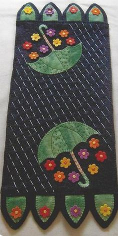 Showers Bring Flowers Felted Wool Penny Rug Tablerunner by Cath's Pennies Design | eBay