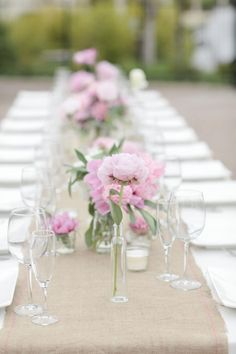 Brought to you by Tickled Pink Homes http://TickledPinkHomes.com  Burlap table runner on a white table cloth. Beautiful and simple. Easter, wedding, etc.