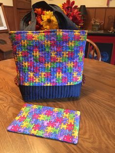 Autism Awareness Quilted Purse with Matching Makeup Bag by NanasCountryHome on Etsy
