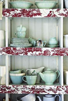 Brabourne Farm: Open Kitchen Cabinet decor let it rip! :)