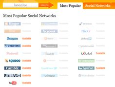 Enter your desired username into Knowem to see its availability on over 25 of the most popular social networks.