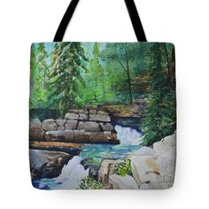Back Country Stream Tote Bag by Terri Robertson