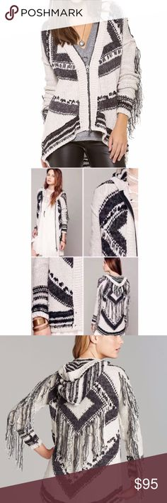 Free People Show Me The Way Fringe Hooded Cardigan - Attached hood - Zip front closure - Long sleeves with drop shoulder seam - Fringe trim at back and sleeves - Allover knit print - Hi-lo hem  Also ASO Madison Montgomery in American Horror Story Coven Tagged sz L but runs LARGE. Could work for L or XL. Just trying to get back what I paid. Free People Sweaters Cardigans