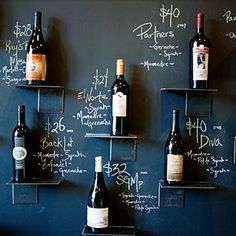 Blackboard painted feature wall with bottles