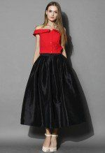 La Diva Pleated Full Skirt in Black