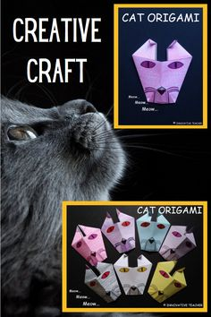 Cat Origami Craft with detailed written and pictured instructions. #halloween #halloweenathome #crafting #teach #learn #fun #cat #origami #homeschool #meow Teacher Hacks, Best Teacher, Awesome Teachers, Following Directions, Learning Styles, Totally Awesome, Teacher Resources, Halloween Crafts, Origami