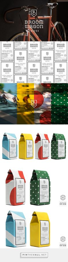 Branding , packaging and typography for Broom Wagon Coffee Brand & Packaging on Behance by Cody Small San Diego, CA curated by Packaging Diva PD. A micro-batch, specialty-grade coffee roaster based in Charleston, South Carolina with a passion for cycling.