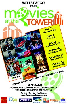 Movies at the Tower 2012 - Family entertainment that you're sure to enjoy.  This free event starts Friday May 11, and happens once a month in Downtown Roanoke, Virginia in the Wells Fargo Plaza.  Movies this year are The Smurfs, Cars2, Footloose, The Muppets, The Lorax, and Zookeeper.  Follow the link for dates and more details! #Roanoke, Virginia