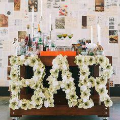 paper flowers diy bar cart