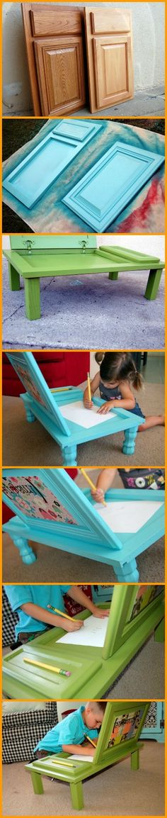 Got art loving kids? You should make them one of these repurposed cupboard door art desks. http://theownerbuildernetwork.co/sj2t
