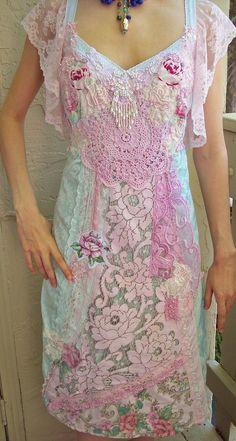 Aqua Blue Velvet & Vintage Crochet Lace Quilt Dress ~ Luscious Aqua velvet set alongside quiltings of vintage hand dyed Irish lace, vintage florals, vintage lace trimmings, vintage crochet, little jewels & petalled lace sleeves ~ Roselani Jasmin, via Etsy