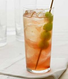 Honey Deuce - honeydew melon balls, lemonade, Chambord, Grey Goose Original Vodka.