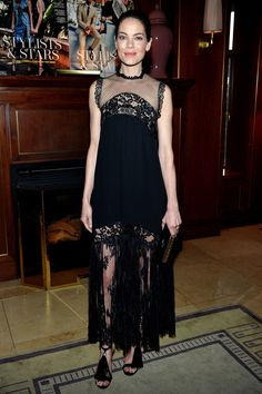 15 March Also at the Jimmy Choo event was Michelle Monaghan, who wore a lace dress with fun fringed sandals.   - HarpersBAZAAR.co.uk