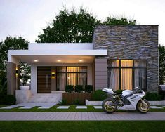 37 The Insider Secrets of Minimalist House Design Ideas With Front Porch Discovered - nyamanhome Modern Bungalow House, Modern House Facades, Modern House Plans, Minimalist House Design, Modern House Design, Neoclassical Interior, Small Modern Home, Small Modern House Exterior, House Front Design
