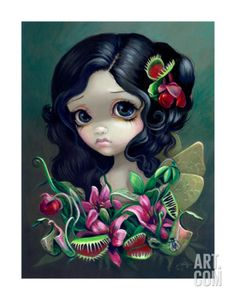 Been wanting this as a tattoo forever: Gothic Fairy Art: Carnivorous Bouquet Fairy by Jasmine Becket-Griffith Big Eyed Art Jasmine Becket Griffith, Kobold, Popular Flowers, Gothic Fairy, Illustration, Little Doll, Eye Art, Fairy Art, Big Eyes