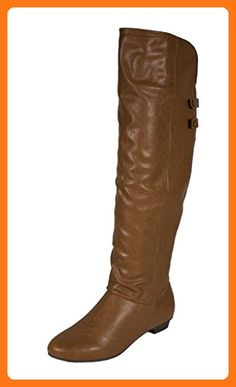 aad554e8d08f Soda Women s Trely Semi-Slouchy Knee High Boots with Back Cuffs and Side  Zipper