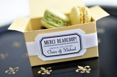Thank you guests with a sweet Parisian macaron wedding favor. Parisian Wedding, French Wedding, Chic Wedding, Our Wedding, Wedding Reception, Diy Wedding Favors, Wedding Invitations, Wedding Ideas, Wedding Decorations