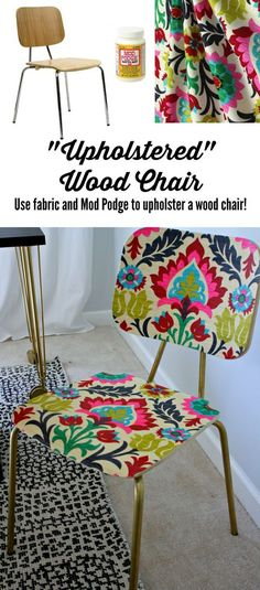 """AWESOME!  Learn how to """"upholster"""" a chair with fabric and Mod Podge.  Full tutorial by Designer Trapped in a Lawyer's Body!"""