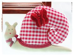 Small stuffed snail - cute red-white checked snail doll