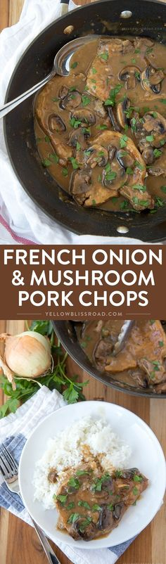 French Onion and Mushroom Pork Chops with Gravy - An easy weeknight dinner with just 4 ingredients. French Onion and Mushroom Pork Chops with Gravy ~ an easy weeknight dinner with just 4 ingredients! Braised Pork Chops, Pork Chops And Gravy, Mushroom Pork Chops, Easy Pork Chop Recipes, Pork Recipes, Cooker Recipes, Kid Recipes, Pastas Recipes, Dinner Recipes