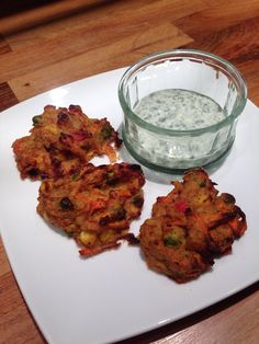 SW homemade veg pakora with homemade raita. Very yummy and free on extra easy so good to snack on! Slimming World :)