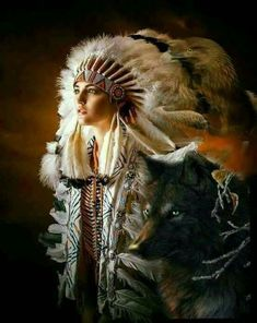 i love the spirit of the wolf Native American Wolf, American Indian Girl, Native American Headdress, Native American Pictures, Native American Artwork, Native American Beauty, American Women, American Indians, Native Indian