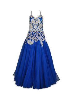 Blue color Indo Western Gown