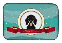 Smooth Black and Tan Dachshund Merry Christmas Dish Drying Mat BB1525DDM