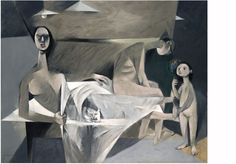 Louis le Brocquy, 'A Family', 1951. According to the artist, the painting was conceived in 1950 in the face of the atomic threat, social upheaval and refugees of World War II and its aftermath.