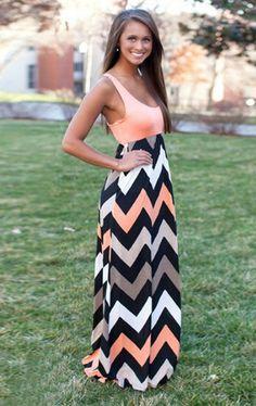robe longue dt jointive corail et zigzag - Robe Longue Colore