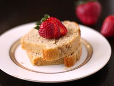 Vanilla Bean Pound Cake that is eggless, low fat, low sugar, high fiber, high protein!