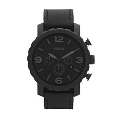 Amazon.com  Fossil Men s JR1354 Nate Stainless Steel Chronograph Watch with  Black Leather Band  fossil  Watches 903fc1801d