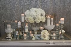 Silver Glitter, White Floral and Candle Tablescape; use my large red glass urn, diamond confetti at bottom of vases