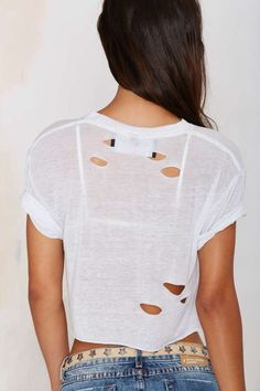 White Distressed Crop Tee