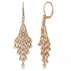 Bezel-Set Dangling Chandelier Diamond Earrings 14K Rose Gold (2.27ct) - Allurez.com
