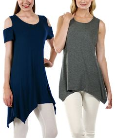 Another great find on #zulily! Navy Off-Shoulder Tunic & Gray Handkerchief Tunic - Plus by Lily #zulilyfinds