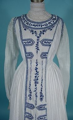 A c.1902 Gibson Girl Era White Cotton Lawn Dress with Blue Cornély Machine Embroidery!  Yes again....I love Cornély Machine embroidery!!!