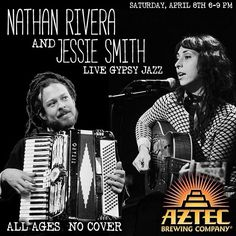 Join us this Saturday, April 8th 6-9pm for an evening of Gypsy Jazz with two of the area's Best Musicians: Nathan Rivera and Jessie Smith! . . . #aztecbrewery #nathanandjessie #nathanrivera #jessiesmith #sdmusic #sandiegomusic #vistamusic #music #livemusic #livejazz #sdjazz #sandiegojazz #gypsyjazz #sdbeer #vistabeer #sandiegobeer #sandiego #sandiegoconnection #sdlocals #sandiegolocals - posted by Aztec Brewing Company https://www.instagram.com/aztecbrewery. See more San Diego Beer at…