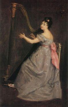 ~ Eva Gonzalès ~ French artist, 1849-1883: Joueuse de harpe