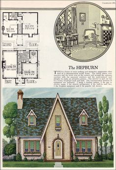 1927 American Builder - Hepburn by Radford This is an unusually symmetrical English Cottage style house with hints of the 19th century Carpenter Gothic.
