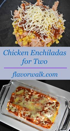 These Chicken Enchiladas are packed with flavor, and just the right amount for two! These Chicken Enchiladas are packed with flavor, and just the right amount for two! Gluten Free Recipes For Dinner, Gourmet Recipes, Mexican Food Recipes, Cooking Recipes, Easy Recipes, Batch Cooking, Cooking Games, Vegetarian Cooking, Delicious Recipes