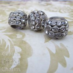 Aged Silver Czech Crystal Rhinestone Stacked Rondelle Barrel Bead - 15mm x 13mm - Vintage Shabby Style - Central Coast Charms