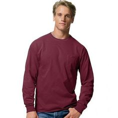 Hanes Men's TAGLESS Long-Sleeve T-Shirt with Pocket H5596-MR Size S