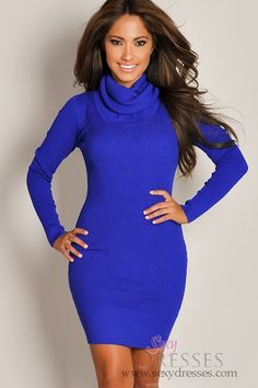 Classy AND sexy Designer Royal Blue Long-Sleeve Turtleneck Sweater Dress Long Sleeve Turtleneck, Turtleneck Dress, Sweater Dresses, Sexy Dresses, Casual Dresses, Homecoming Outfits, Freakum Dress, Putting Outfits Together, Love Fashion