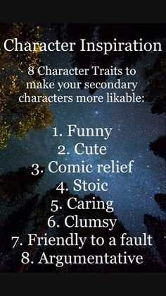 8 Character Traits for Secondary Characters. Book Writing Tips, Creative Writing Prompts, Writing Words, Writing Workshop, Writing Help, Writing Skills, Writing Inspiration, Character Inspiration, Inspiration Quotes
