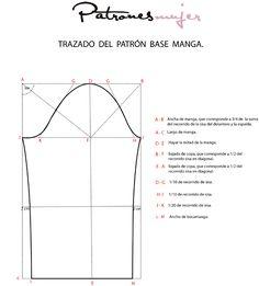 Trazado da la manga base. - Blog de costura, moda y patrones -