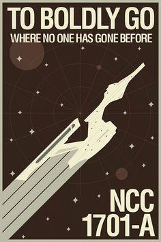 Retro Star Trek movie poster by Brandon Schaefer. Nave Enterprise, Uss Enterprise Ncc 1701, Spock, Star Trek Tos, Star Wars, Alien Nation, Science Fiction, Cv Inspiration, The Final Frontier