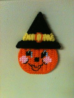 pumpkin magnet needlepoint plastic canvas by Cathygiftsandthings, $4.00