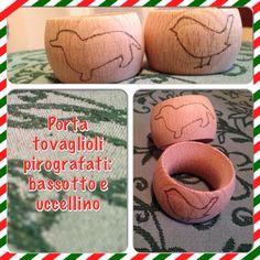 Pyrography: napkin rings  Pirografo: portatovaglioli