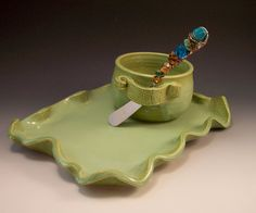 Pottery Dip Cup with Jeweled Spreader and Matching Cheese Tray in French Country Green. $52.00, via Etsy.